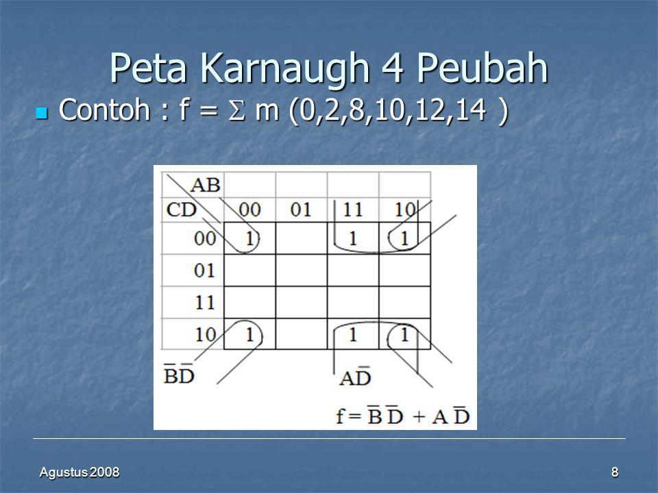 Peta Karnaugh 4 Peubah Contoh : f =  m (0,2,8,10,12,14 ) Agustus 2008