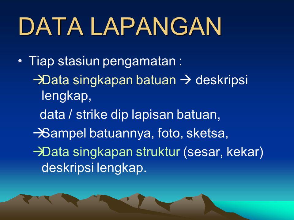 DATA LAPANGAN Tiap stasiun pengamatan :