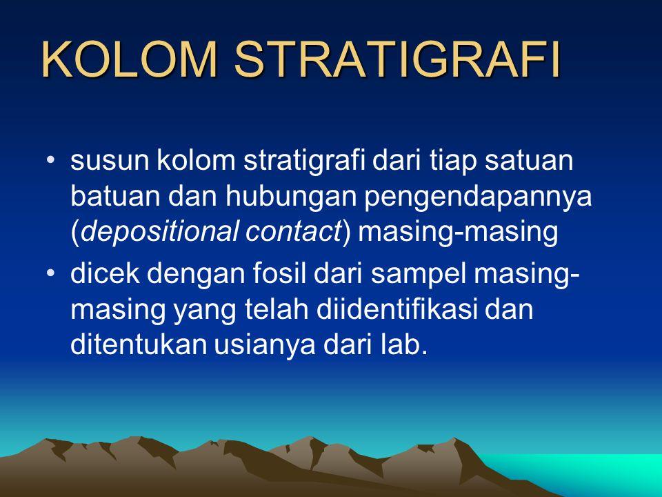 KOLOM STRATIGRAFI susun kolom stratigrafi dari tiap satuan batuan dan hubungan pengendapannya (depositional contact) masing-masing.