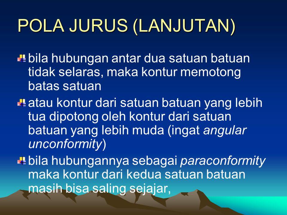 POLA JURUS (LANJUTAN) bila hubungan antar dua satuan batuan tidak selaras, maka kontur memotong batas satuan.