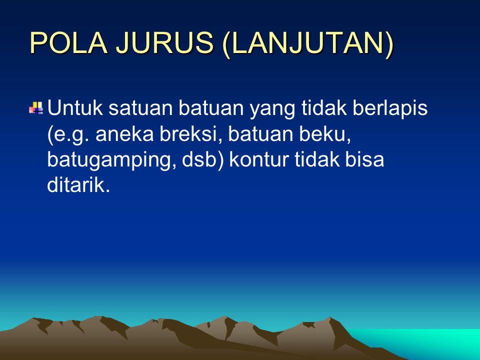 POLA JURUS (LANJUTAN) Untuk satuan batuan yang tidak berlapis (e.g.