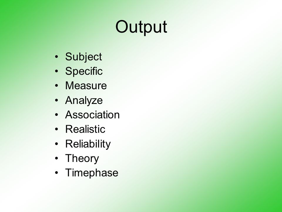 Output Subject Specific Measure Analyze Association Realistic