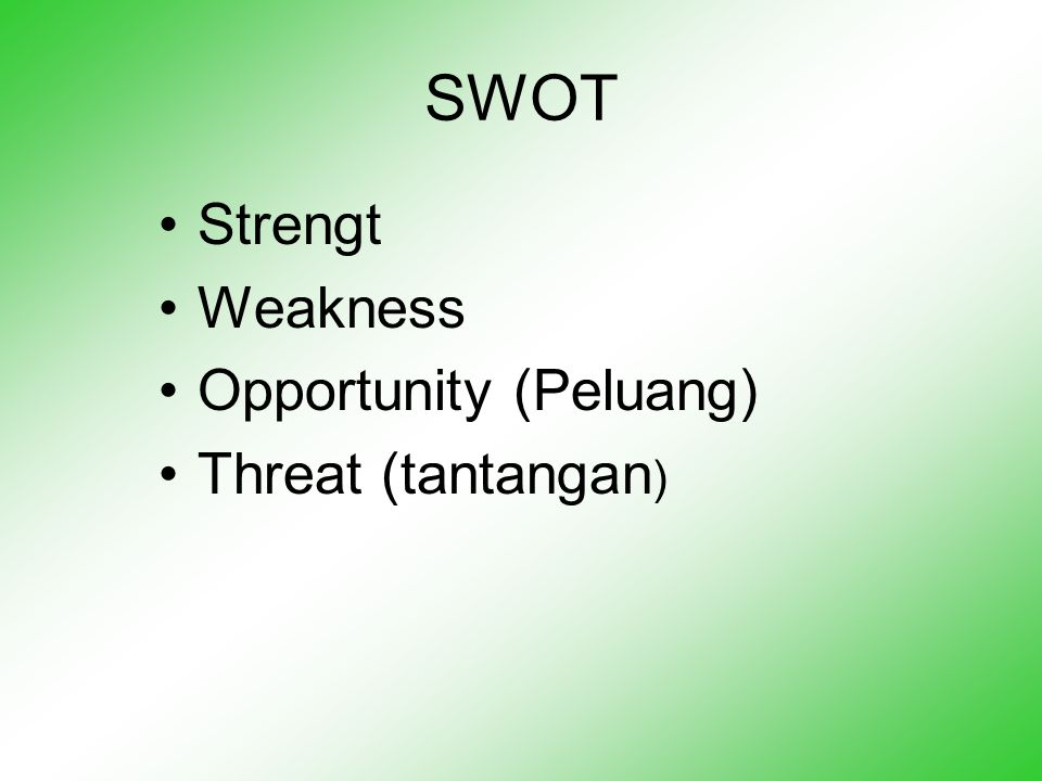 SWOT Strengt Weakness Opportunity (Peluang) Threat (tantangan)