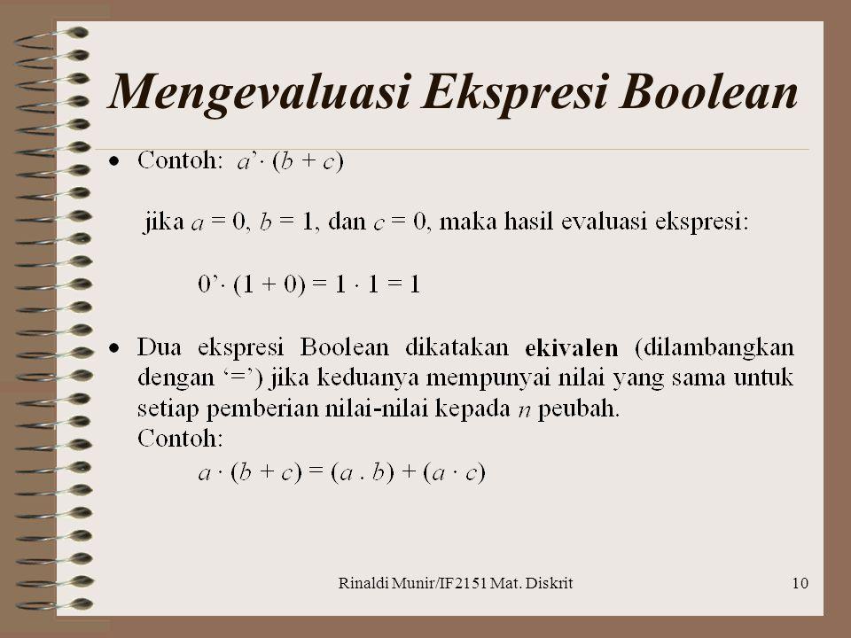 Mengevaluasi Ekspresi Boolean