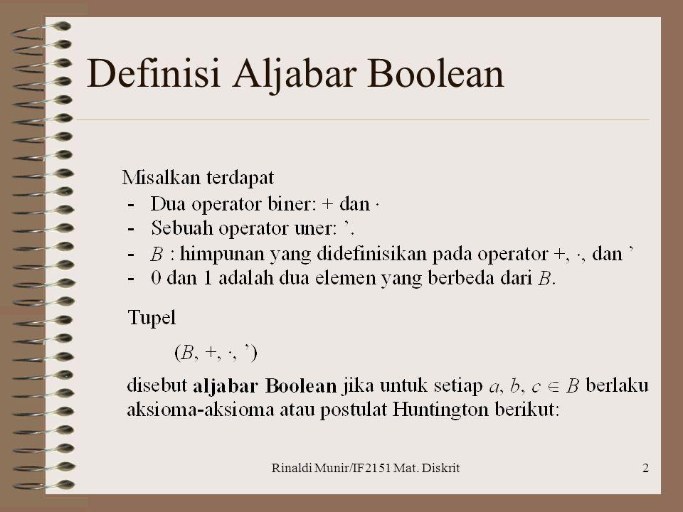 Definisi Aljabar Boolean