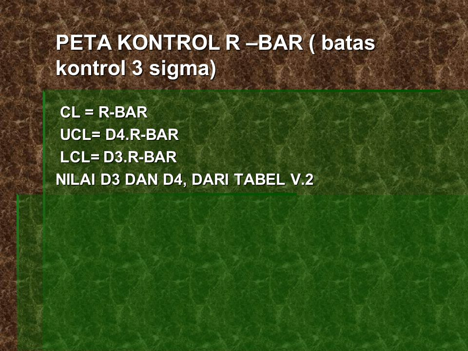PETA KONTROL R –BAR ( batas kontrol 3 sigma)