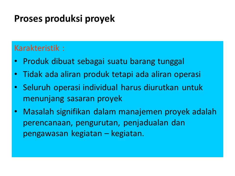 Proses produksi proyek