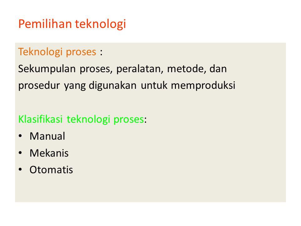 Pemilihan teknologi Teknologi proses :