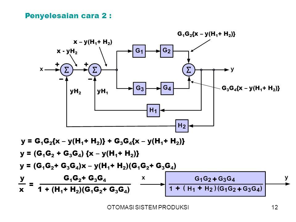 Penyelesaian cara 2 : y = G1G2{x – y(H1+ H2)} + G3G4{x – y(H1+ H2)}