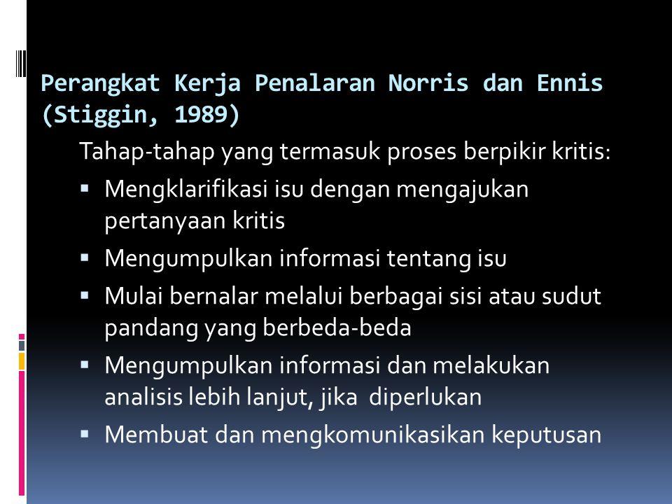 Perangkat Kerja Penalaran Norris dan Ennis (Stiggin, 1989)