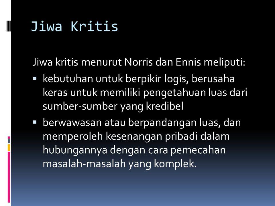 Jiwa Kritis Jiwa kritis menurut Norris dan Ennis meliputi: