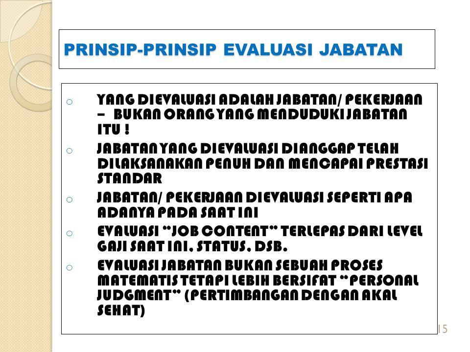PRINSIP-PRINSIP EVALUASI JABATAN