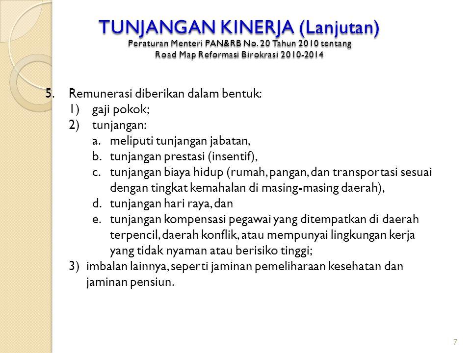 TUNJANGAN KINERJA (Lanjutan) Peraturan Menteri PAN&RB No