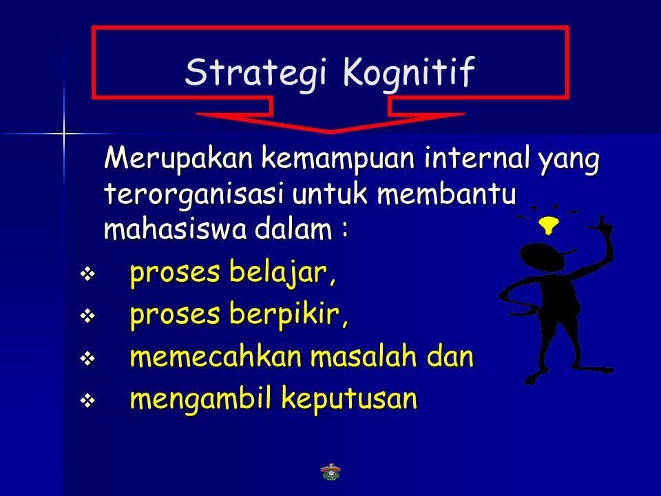Strategi Kognitif Merupakan kemampuan internal yang terorganisasi untuk membantu mahasiswa dalam : proses belajar,