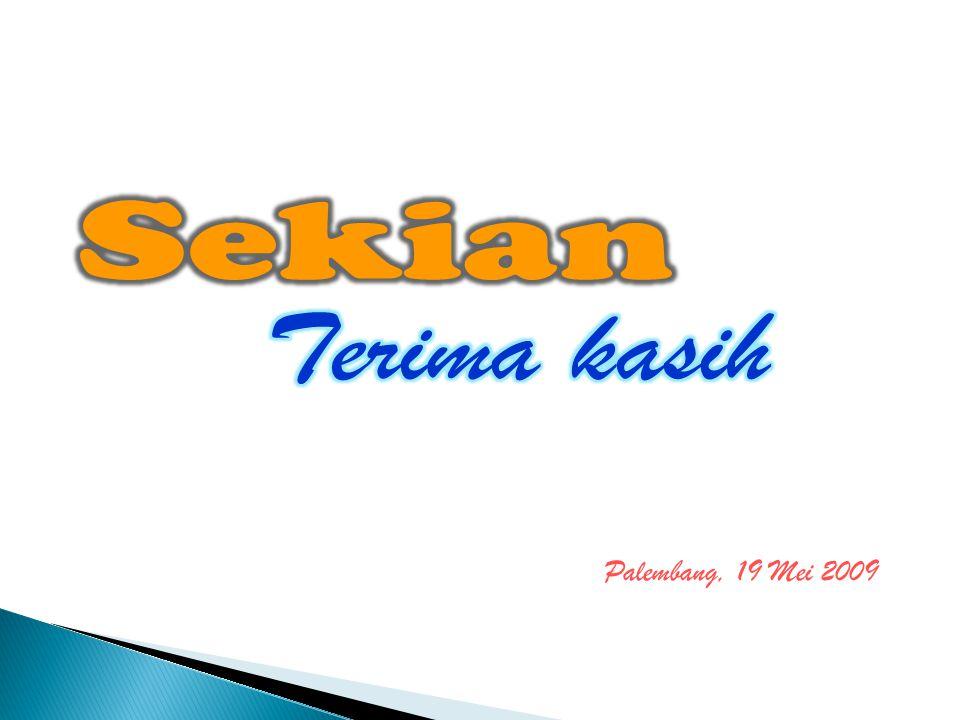 Sekian Terima kasih Palembang, 19 Mei 2009