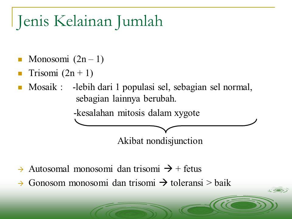 Jenis Kelainan Jumlah Monosomi (2n – 1) Trisomi (2n + 1)