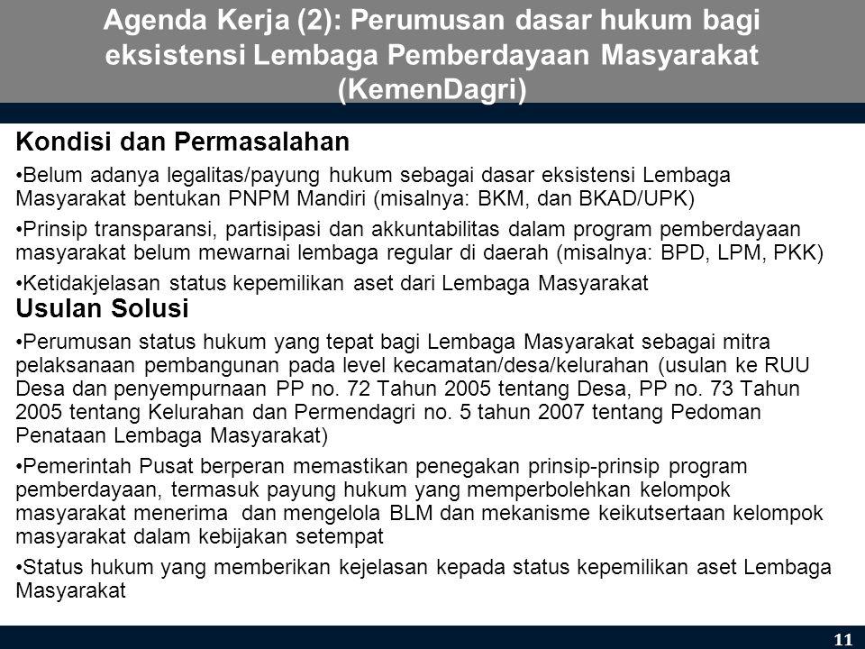 Agenda Kerja (2): Perumusan dasar hukum bagi eksistensi Lembaga Pemberdayaan Masyarakat (KemenDagri)