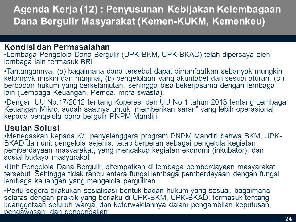 Agenda Kerja (12) : Penyusunan Kebijakan Kelembagaan Dana Bergulir Masyarakat (Kemen-KUKM, Kemenkeu)
