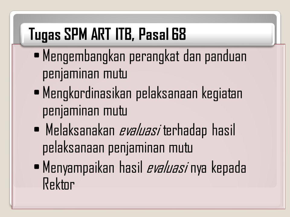 Tugas SPM ART ITB, Pasal 68 Mengembangkan perangkat dan panduan penjaminan mutu. Mengkordinasikan pelaksanaan kegiatan penjaminan mutu.