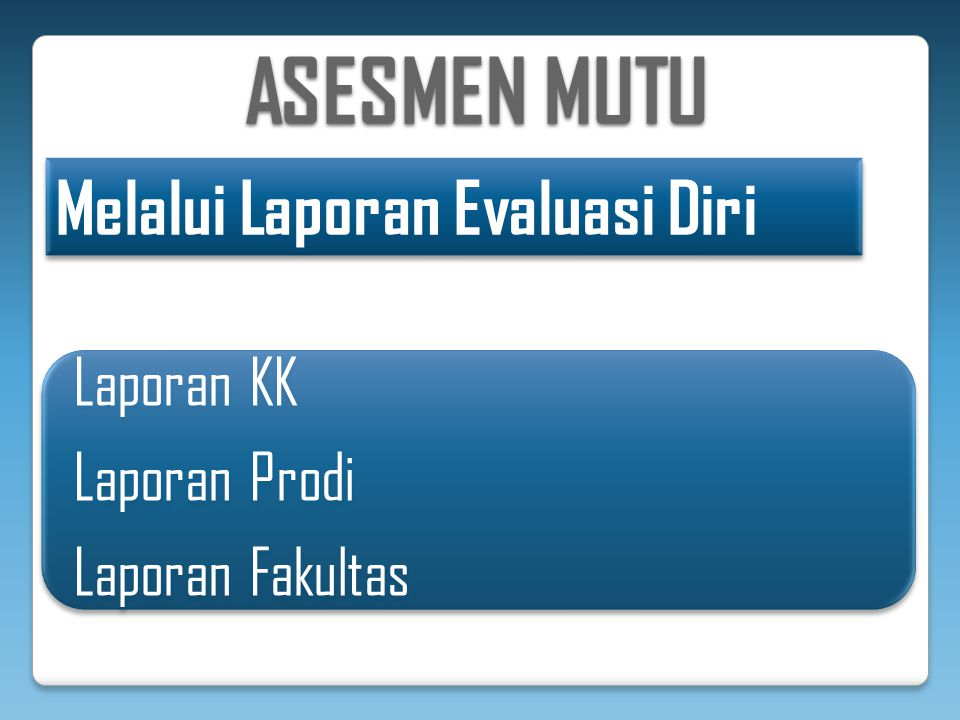 ASESMEN MUTU Melalui Laporan Evaluasi Diri Laporan KK Laporan Prodi