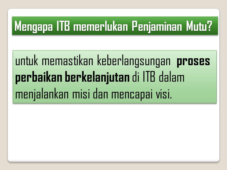 Mengapa ITB memerlukan Penjaminan Mutu