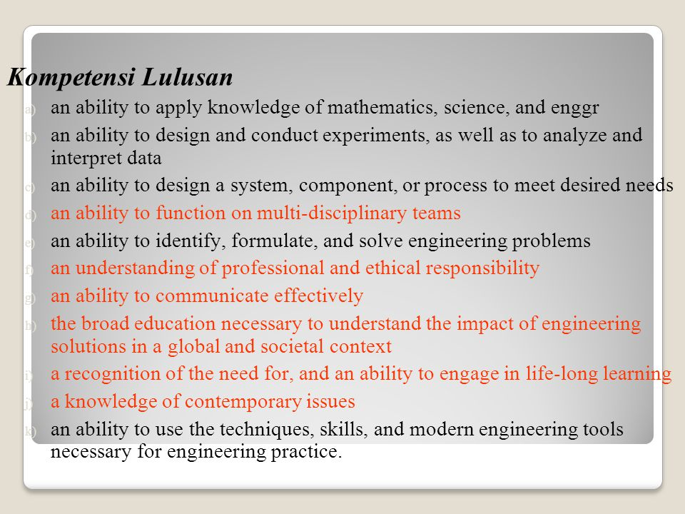 Kompetensi Lulusan an ability to apply knowledge of mathematics, science, and enggr.