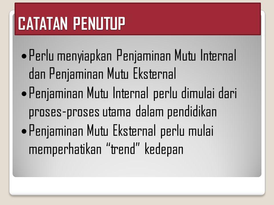 CATATAN PENUTUP Perlu menyiapkan Penjaminan Mutu Internal dan Penjaminan Mutu Eksternal.