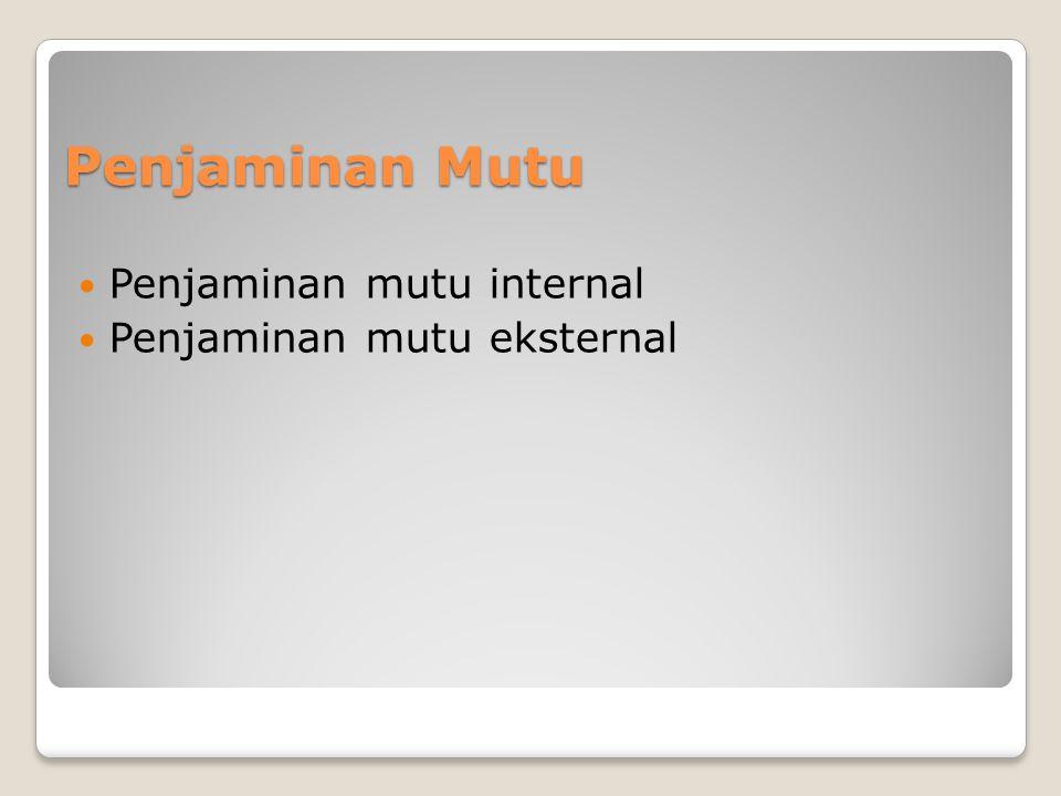 Penjaminan Mutu Penjaminan mutu internal Penjaminan mutu eksternal