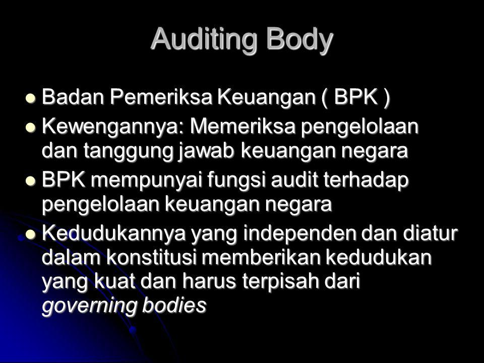 Auditing Body Badan Pemeriksa Keuangan ( BPK )