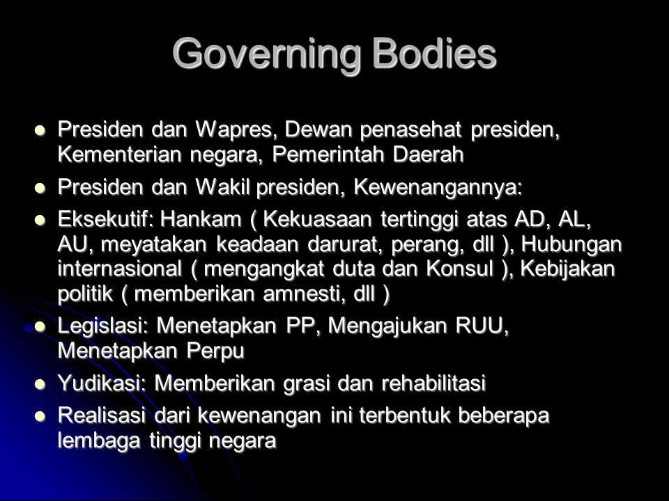 Governing Bodies Presiden dan Wapres, Dewan penasehat presiden, Kementerian negara, Pemerintah Daerah.
