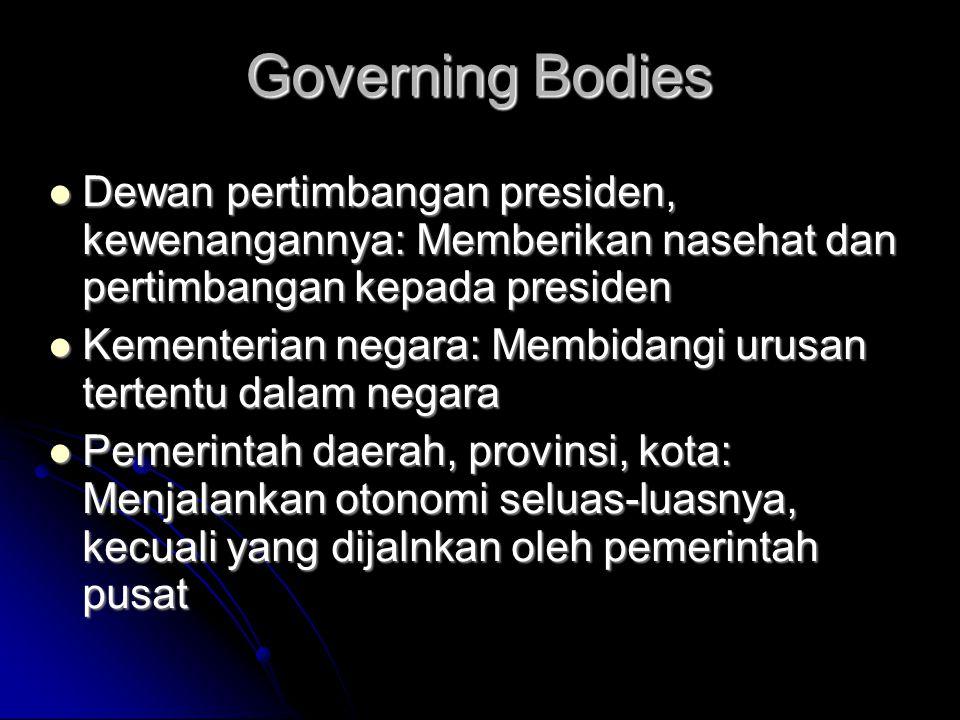 Governing Bodies Dewan pertimbangan presiden, kewenangannya: Memberikan nasehat dan pertimbangan kepada presiden.
