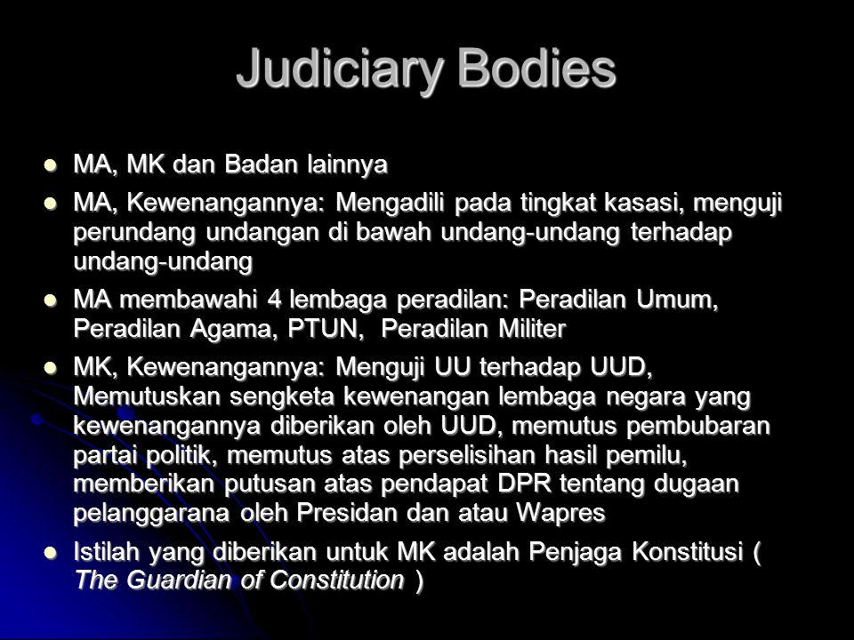 Judiciary Bodies MA, MK dan Badan lainnya