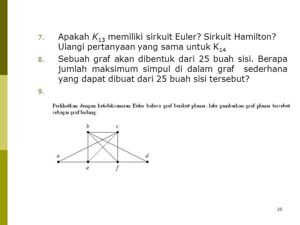 Apakah K13 memiliki sirkuit Euler. Sirkuit Hamilton