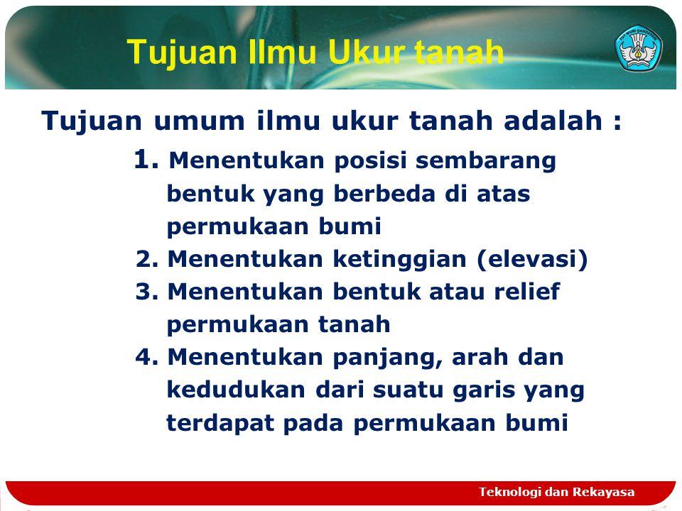 Tujuan Ilmu Ukur tanah Tujuan umum ilmu ukur tanah adalah :