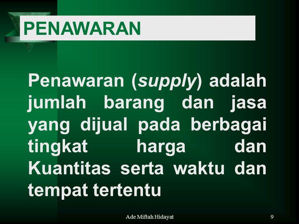 PENAWARAN Penawaran (supply) adalah jumlah barang dan jasa yang dijual pada berbagai tingkat harga dan Kuantitas serta waktu dan tempat tertentu.