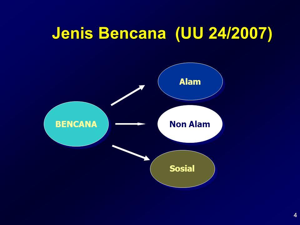 Jenis Bencana (UU 24/2007) Alam BENCANA Non Alam Sosial 4