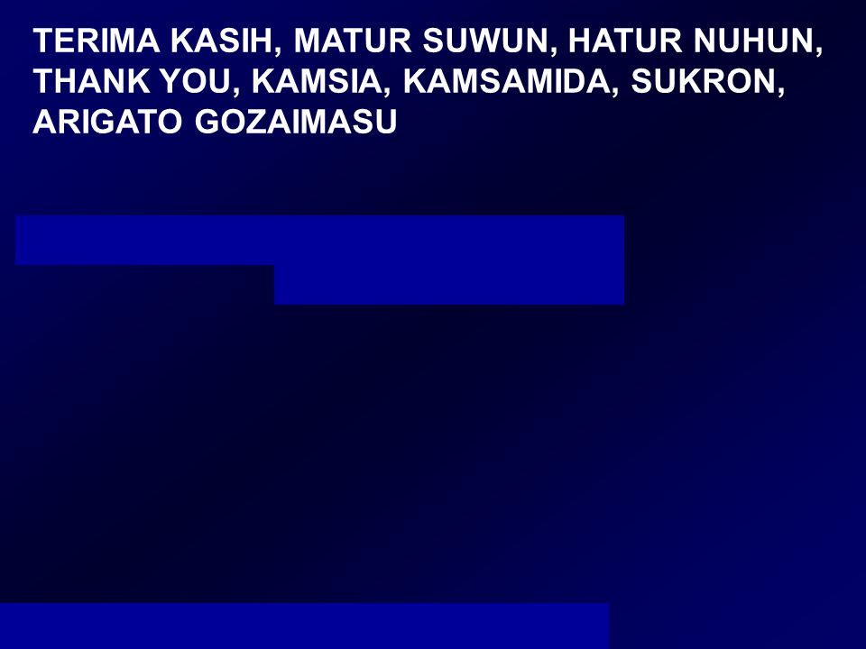 TERIMA KASIH, MATUR SUWUN, HATUR NUHUN, THANK YOU, KAMSIA, KAMSAMIDA, SUKRON, ARIGATO GOZAIMASU