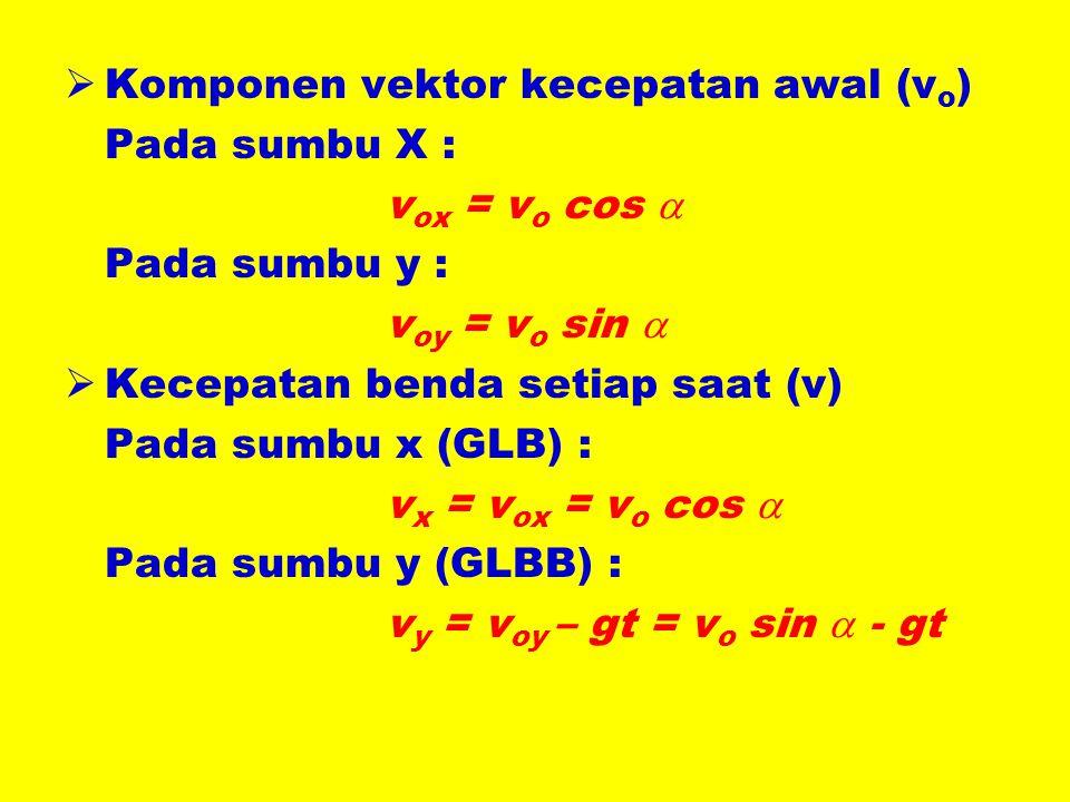 Komponen vektor kecepatan awal (vo)