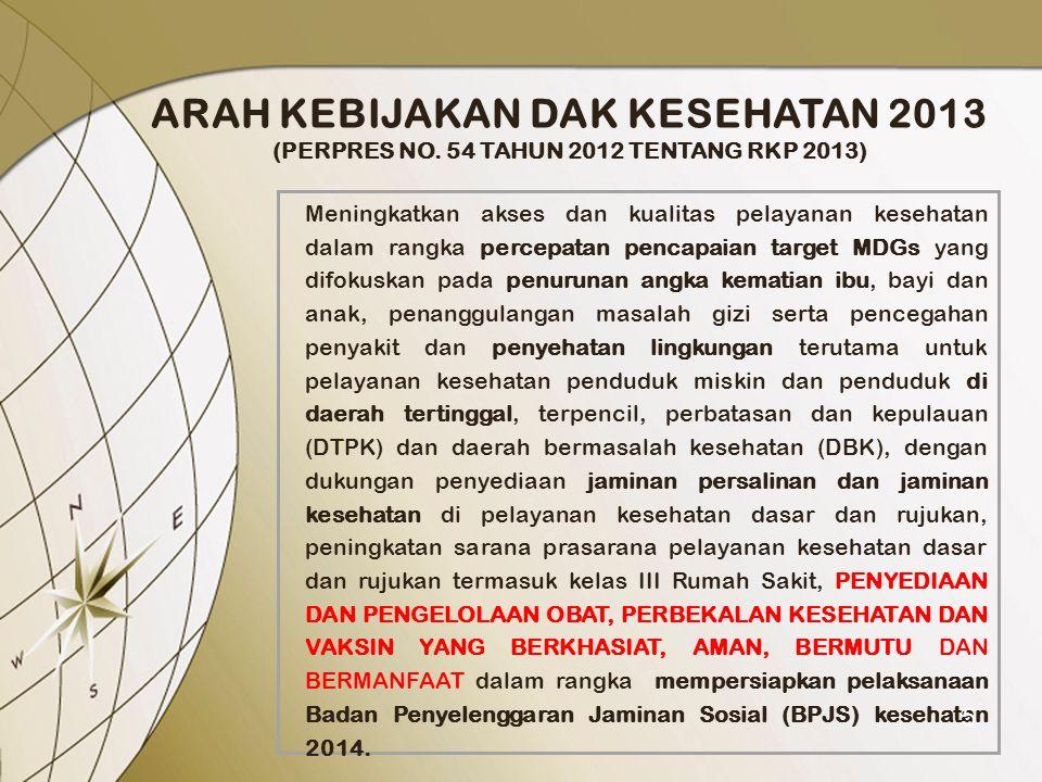 ARAH KEBIJAKAN DAK KESEHATAN 2013 (PERPRES NO