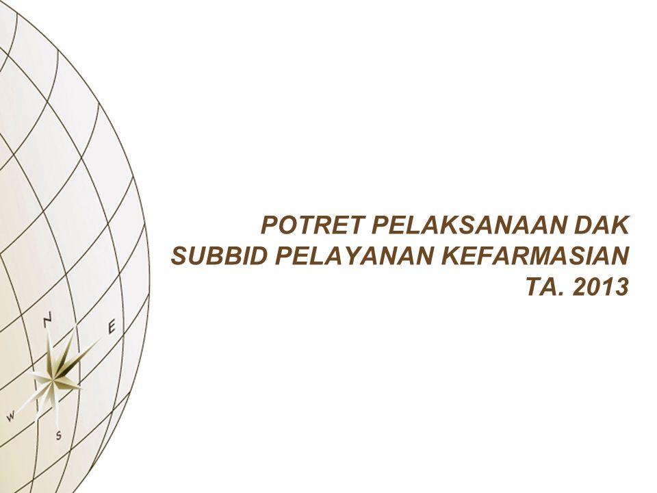 POTRET PELAKSANAAN DAK SUBBID PELAYANAN KEFARMASIAN TA. 2013