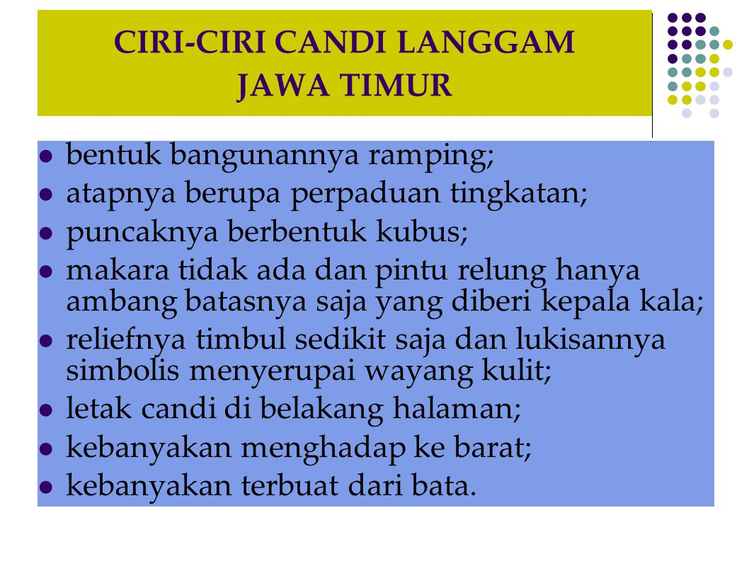 CIRI-CIRI CANDI LANGGAM JAWA TIMUR
