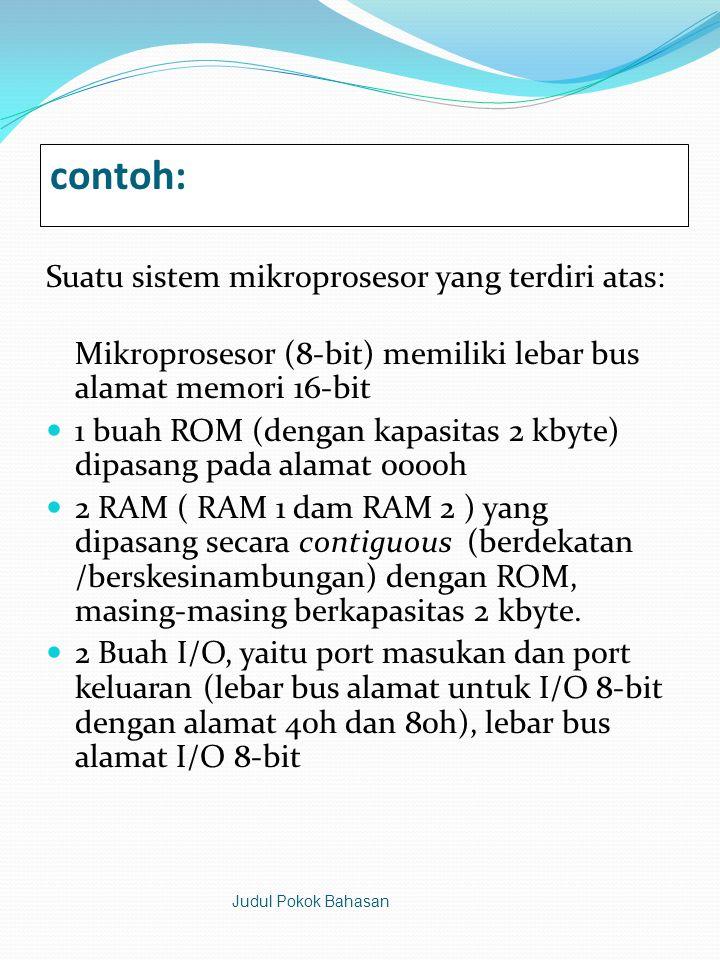 contoh: Suatu sistem mikroprosesor yang terdiri atas:
