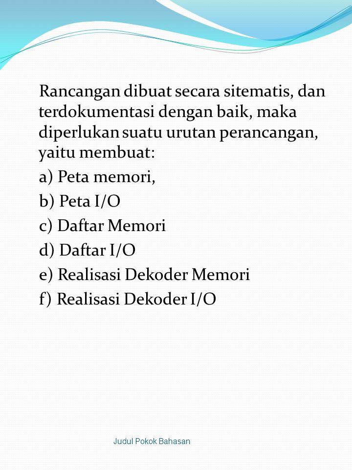 Rancangan dibuat secara sitematis, dan terdokumentasi dengan baik, maka diperlukan suatu urutan perancangan, yaitu membuat: a) Peta memori, b) Peta I/O c) Daftar Memori d) Daftar I/O e) Realisasi Dekoder Memori f) Realisasi Dekoder I/O
