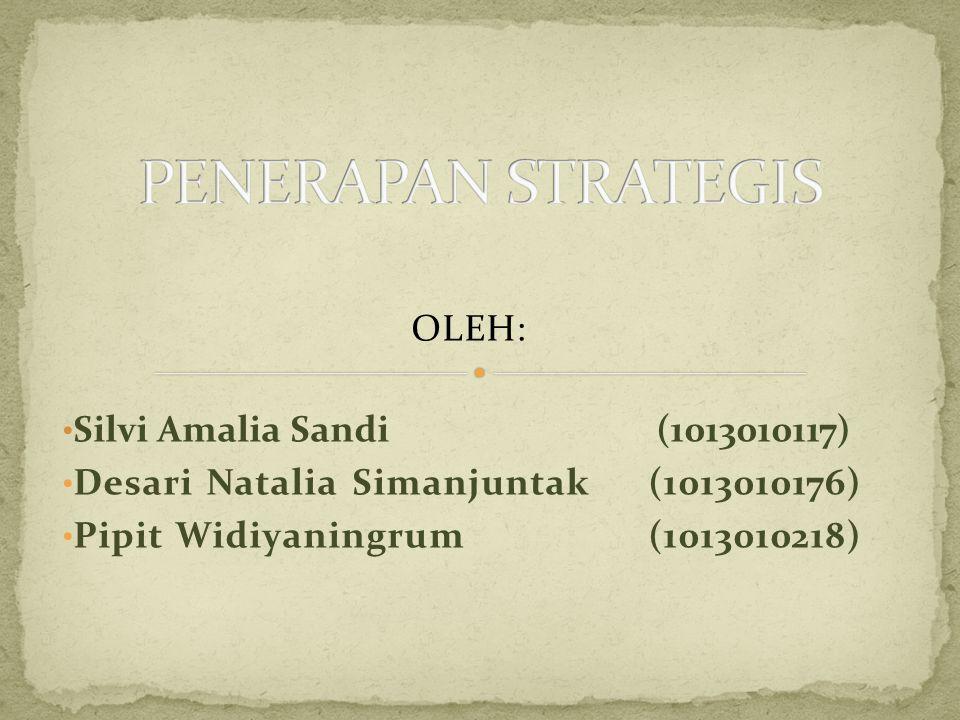 PENERAPAN STRATEGIS OLEH: Silvi Amalia Sandi (1013010117)