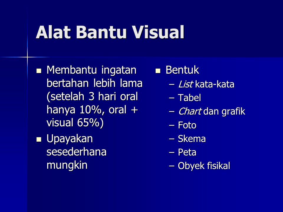 Alat Bantu Visual Membantu ingatan bertahan lebih lama (setelah 3 hari oral hanya 10%, oral + visual 65%)