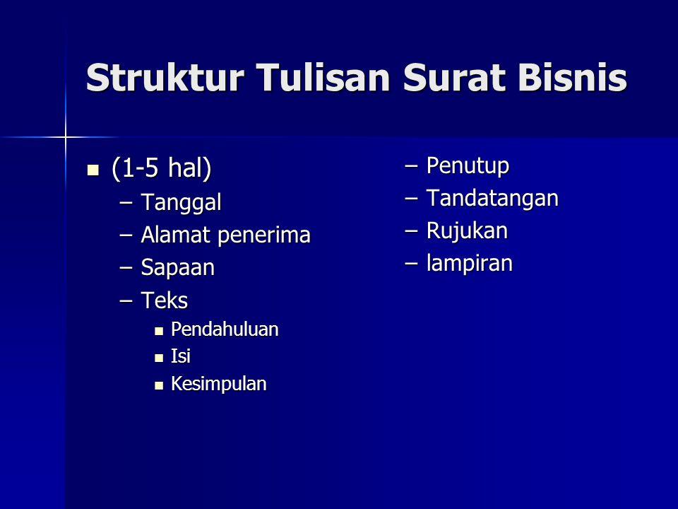 Struktur Tulisan Surat Bisnis