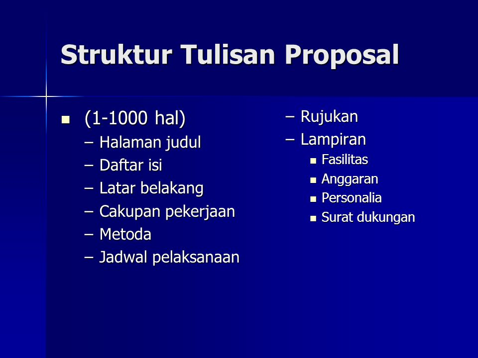 Struktur Tulisan Proposal