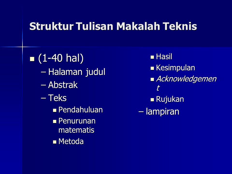 Struktur Tulisan Makalah Teknis
