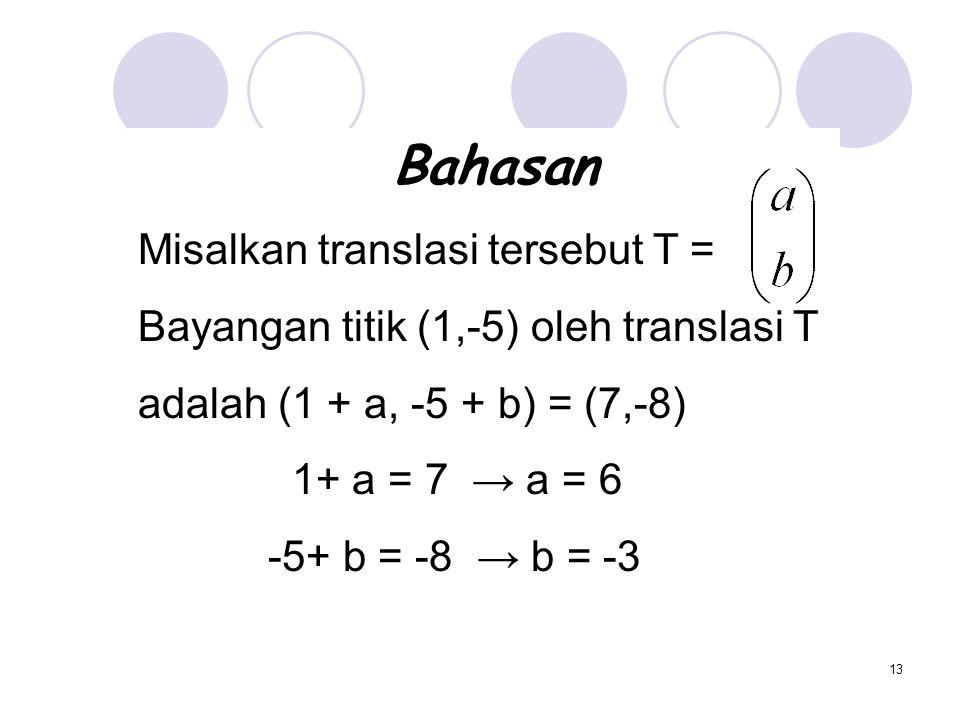 Bahasan Misalkan translasi tersebut T =