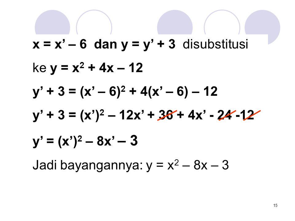 x = x' – 6 dan y = y' + 3 disubstitusi